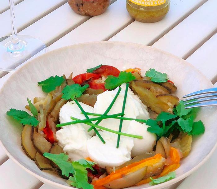 Légumes marinés et mozzarella di bufala - Sauce Gingembre