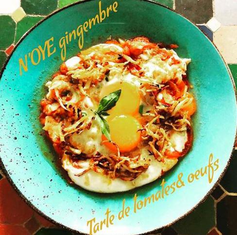 Tarte de tomate et œufs - Sauce N'oye Gingembre